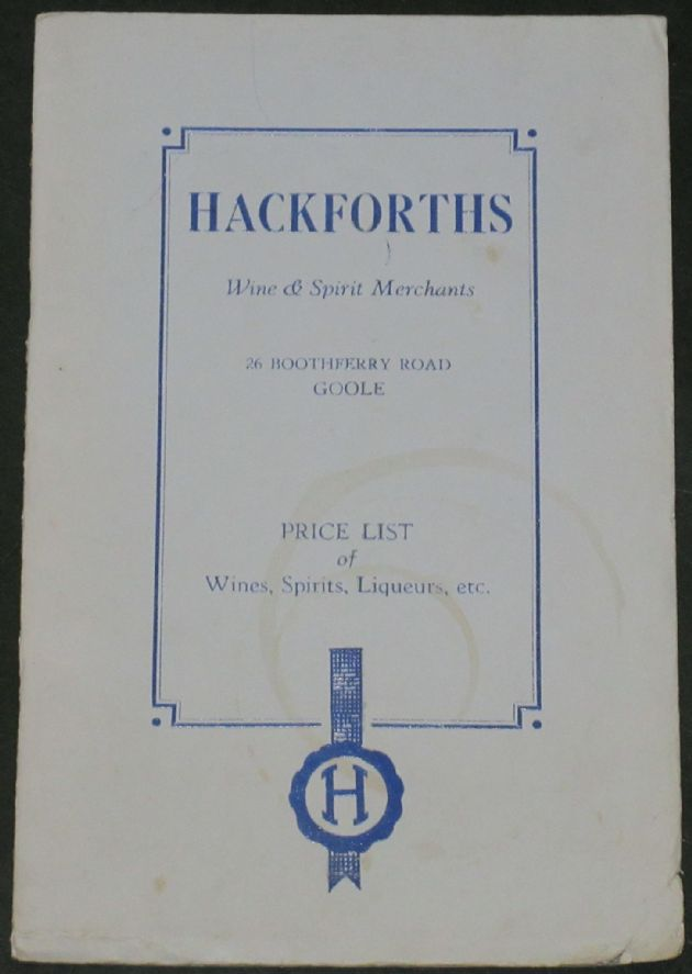 Hackforths Wine & Spirit Merchants (Goole) - Price List